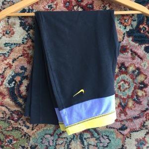 Nike Cropped Pants Color Block Banded Wide Leg Yog
